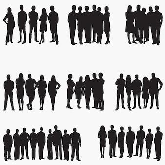 Silhuetas de pessoas de negócios