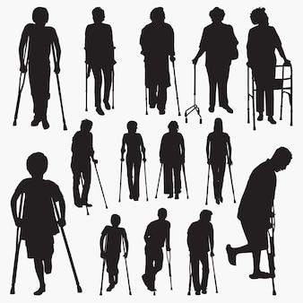Silhuetas de pessoas desabilitadas