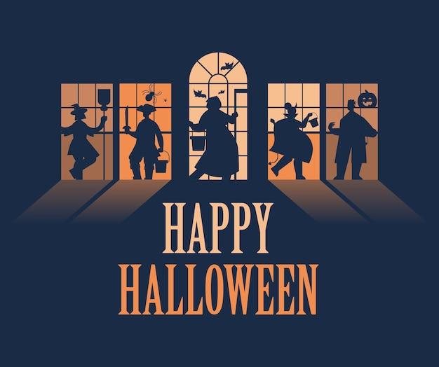 Silhuetas de pessoas em trajes diferentes celebrando o conceito de festa de halloween feliz lettering cartão de saudação horizontal ilustração vetorial de corpo inteiro