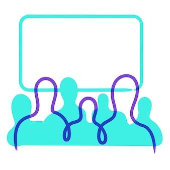 Silhuetas de pessoas na frente de uma tela em branco