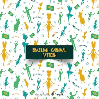 Silhuetas de pessoas padrão de carnaval brasileiro