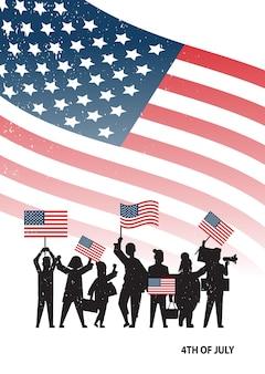 Silhuetas de pessoas segurando bandeiras dos estados unidos comemorando o feriado do dia da independência dos estados unidos, banner de 4 de julho