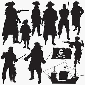 Silhuetas de piratas