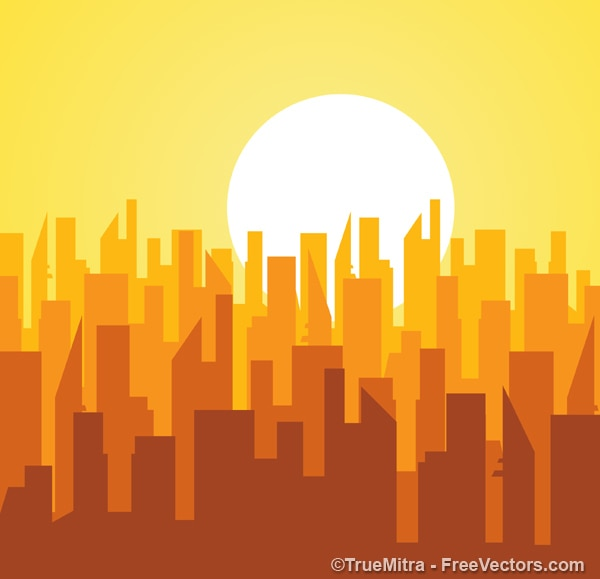 Silhuetas de prédios ao nascer do sol