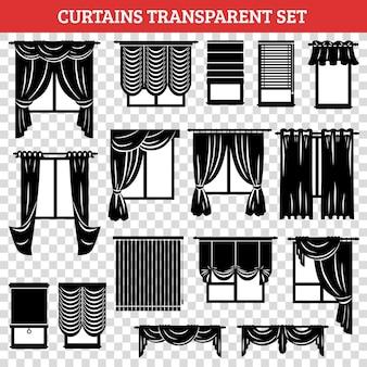 Silhuetas de preto de janelas com cortinas e venezianas