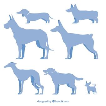 Silhuetas de raças de cães azuis