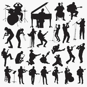 Silhuetas de reprodução de música