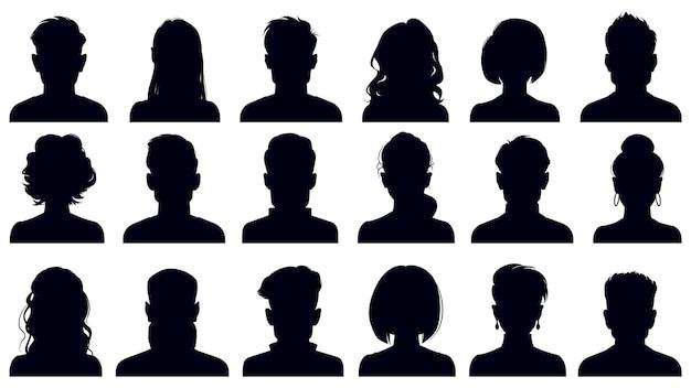 Silhuetas de retrato de avatar. mulher e homem enfrentando retratos, avatares de personagens anônimos