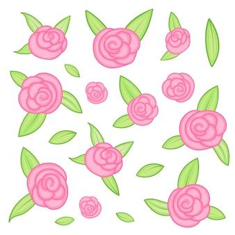 Silhuetas de rosas isoladas no fundo branco