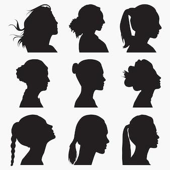 Silhuetas de rosto de mulher