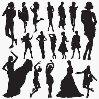Silhuetas de roupas elegantes de mulheres