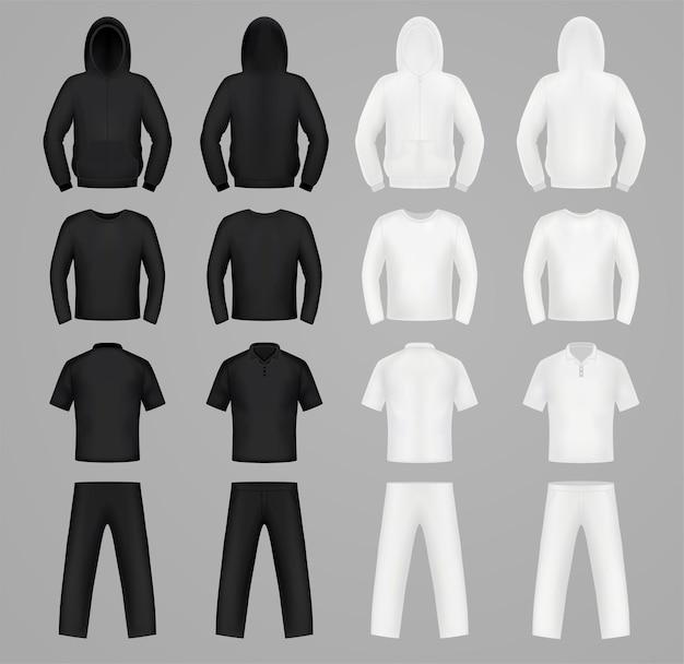 Silhuetas de roupas nas cores preto e branco, moletom, camiseta e manga comprida, calças