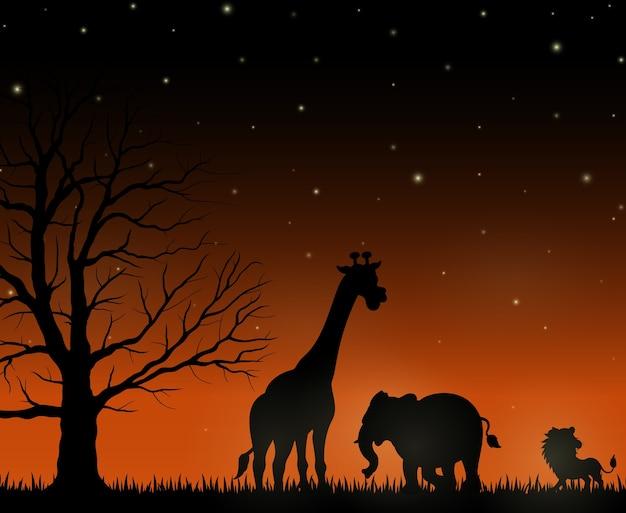 Silhuetas, de, selvagem, africano, animal