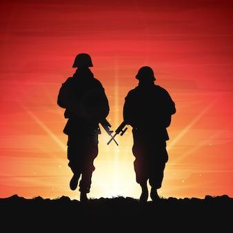 Silhuetas de soldados de guerra na ilustração de luz do sol
