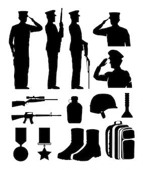 Silhuetas de soldados e equipamentos