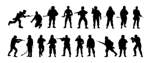 Silhuetas de soldados forças especiais militares armados um soldado monta guarda rangers