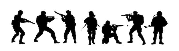 Silhuetas de soldados tropas de militares armados com fins especiais o soldado está de guarda
