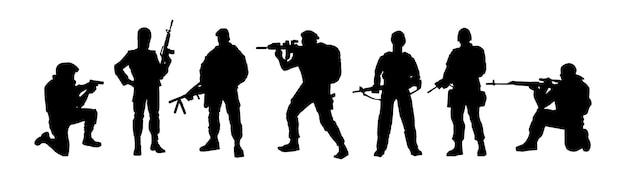 Silhuetas de soldados tropas de tripulação das forças especiais militares armadas para fins especiais isoladas