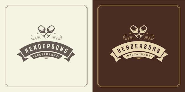 Silhuetas de taças de vinho de ilustração de logotipo de restaurante, boas para o menu do restaurante e o emblema do café.
