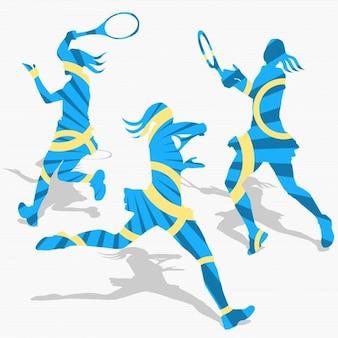 Silhuetas de tênis das mulheres
