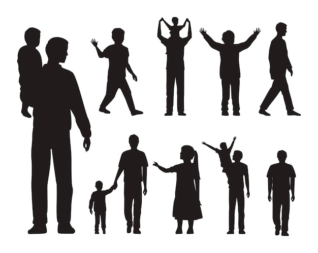 Silhuetas de treze pais e filhos