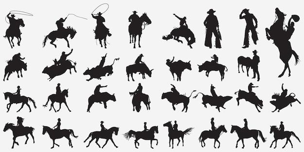 Silhuetas de vaqueiro