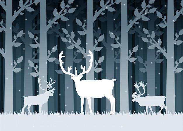 Silhuetas de veado de floresta de inverno