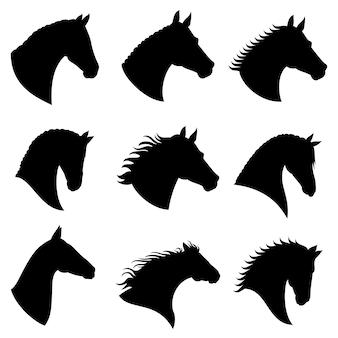 Silhuetas de vetor de cabeça de cavalo