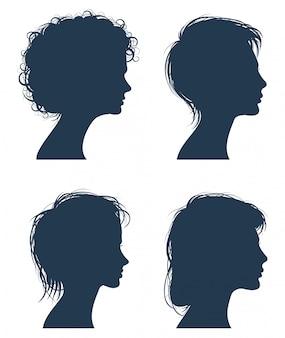 Silhuetas de vetor de cabeça de mulher