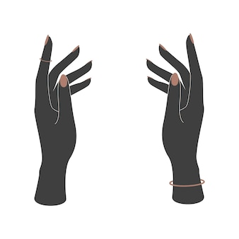 Silhuetas de vetor de mãos de mulher com manicure em um fundo branco. ilustração vetorial