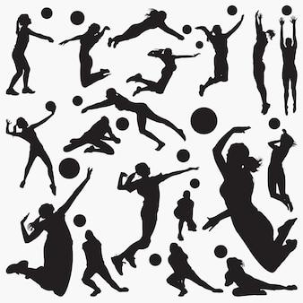 Silhuetas de voleibol