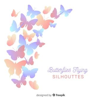 Silhuetas de voo de borboleta
