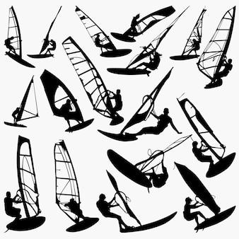 Silhuetas de windsurf
