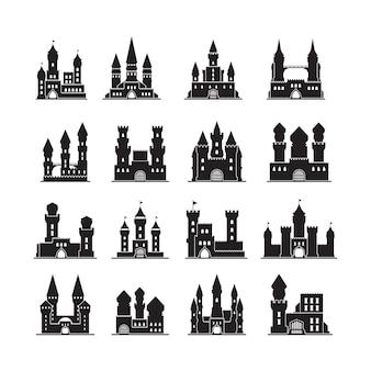 Silhuetas do castelo. reino de edifícios planos de torres antigas de fortaleza medieval. castelo de ilustração com torre, silhueta de fortaleza