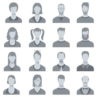 Silhuetas do retrato da cara do vetor do homem e da mulher. cabeças masculinas e femininas