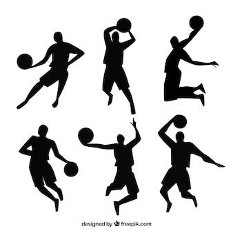 Silhuetas dos jogadores de basquetebol