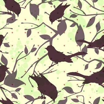Silhuetas dos pássaros fundo