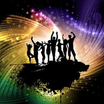Silhuetas dos povos no fundo colorido e brilhante