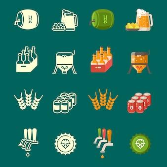 Silhuetas e conjunto de ícones coloridos cerveja plana