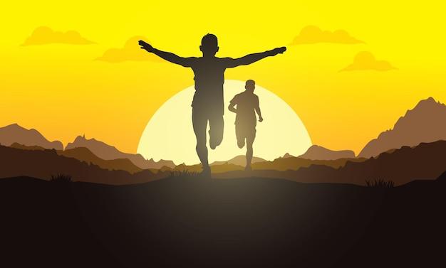Silhuetas em execução. ilustração vetorial, trail running, corredor de maratona.