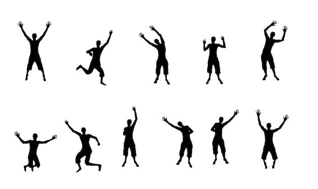 Silhuetas em preto e branco de pessoas pulando felizes e alegres. ilustração vetorial. eps10