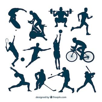 Silhuetas esportivas em ações quentes