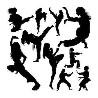 Silhuetas femininas de artes marciais
