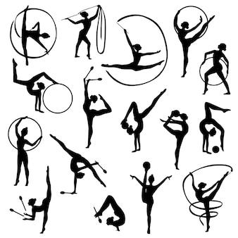 Silhuetas femininas de ginástica preta