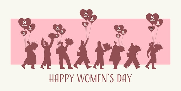 Silhuetas femininas segurando buquês e balões de ar no banner do dia da mulher, 8 de março