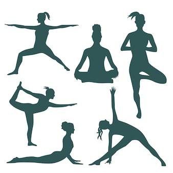 Silhuetas fo mulheres fazendo yoga