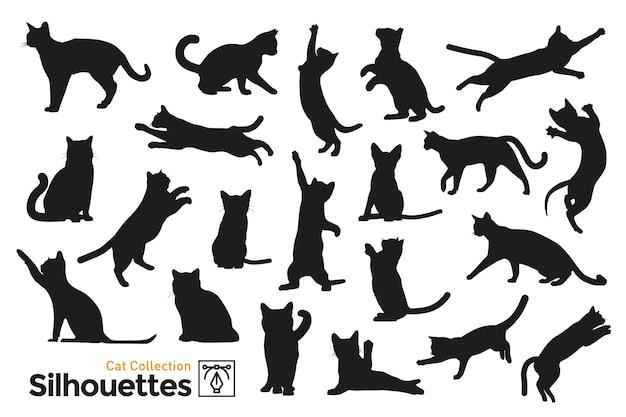 Silhuetas isoladas de gatos.