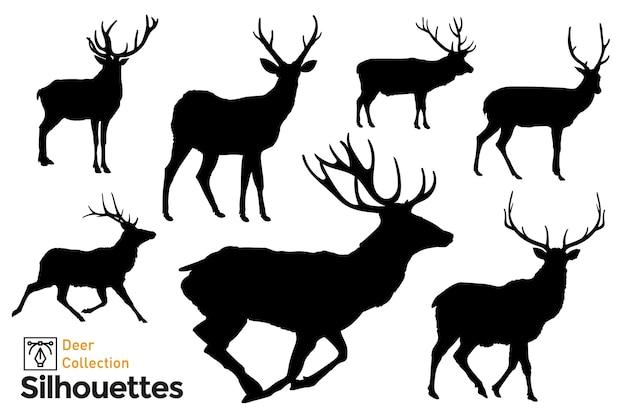 Silhuetas isoladas de veados. poses diferentes. animais selvagens.