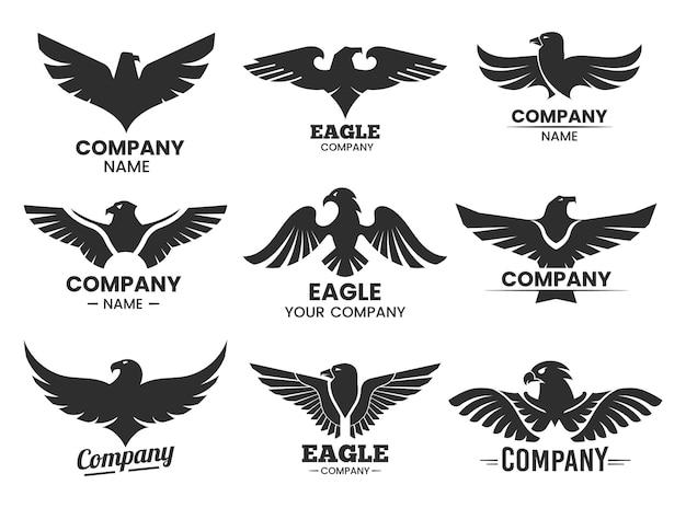 Silhuetas negras de águia. conjunto de logotipos isolados com cabeça de falcão e nome da empresa.