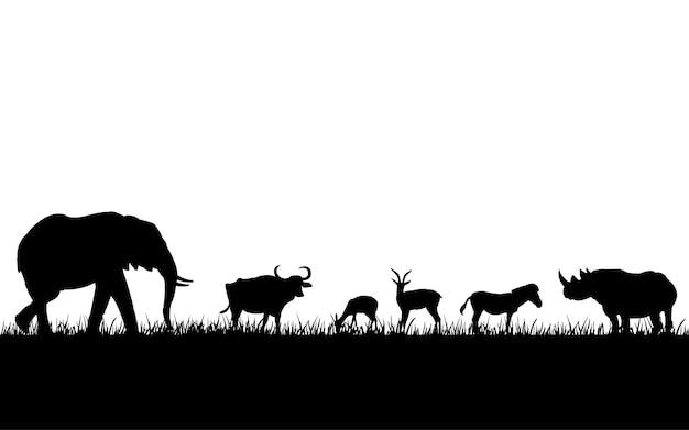 Silhuetas negras de animais selvagens